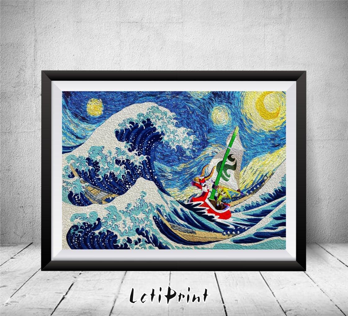 ?zoom & Zelda Starry Night Zelda Print The Great Wave Kanagawaa