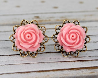 Soft Pink Rose - vintage style antique brass rose surgical steel post earrings - Secret Garden Collection