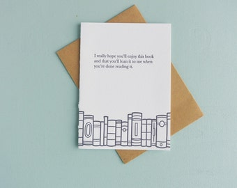 Letterpress Greeting Card - Book Gift Card - Borrow this Book - BKG-528
