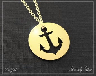 14k Gold Anchor Pendant Necklace, Gold Sailing Necklace, Sailors Necklace, Gold Anchor Necklace
