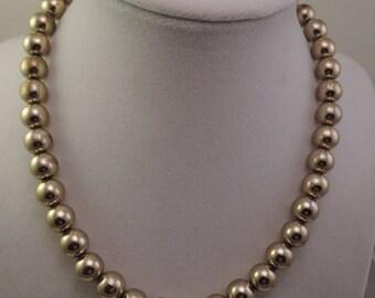 Heavy Gold Tone Bead Necklace 1950-60s