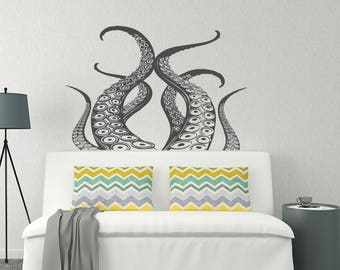 Octopus Vinyl Wall Decal Bedroom Decor- Kraken Decal Sea Animals Bathroom Decor- Ocean Wall Decal- Octopus Tentacle Nautical Wall Decal #135