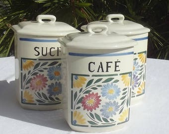 Vintage French 1940s Coffee Caddy Antique China Storage Canister Jar Pot café