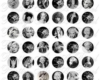 Mae West - One Inch Circles - For Pendants Magnets - Crafts - Digital Collage Sheet - INSTANT DOWNLOAD