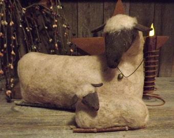 Mother Sheep with Sleepy Lamb