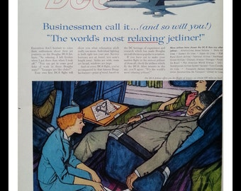 Stewardess Makes Tiring Airplane Travel More Comfy. Beautiful Color Illustrated ad In Flight.  DC-8 Airplane ad.  Ready for Framing.