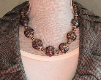 Vintage Venetian Glass Purple, Gold and Copper Sparkle Glass Disc Beaded Necklace