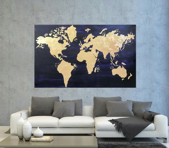 World map canvas world map wall art gold leaf painting map world map canvas world map wall art gold leaf painting map of the world large office decor gold foil painting on canvas modern art gumiabroncs Choice Image