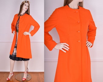 Vintage Orange Ribbed Coat/ 60s/ 70s/ Retro/ Jacket/ Size Medium