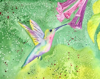 Original Watercolor Painting Hummingbird Art Gift for Her Spring Decor Nursery Art Childs Room Gift for Her Mother's Day Gift