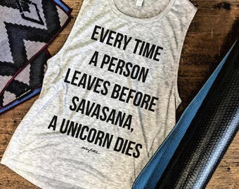 Sale SAVASANA UNICORN DIES....Funny Yoga Muscle Tee in Heather Grey/Black Workout Top, Muscle Tank, Gym Top, Fitness Tank, Yoga Vest