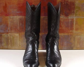 Womens TONY LAMA Black Western Cowboy Boots 7 M