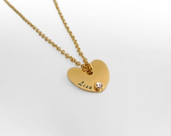 Personalized Heart Necklace, Gold Birthstone Necklace, Heart Name Necklace, Engraved Heart, Custom Mom Necklace, Birthstone Heart Necklace.