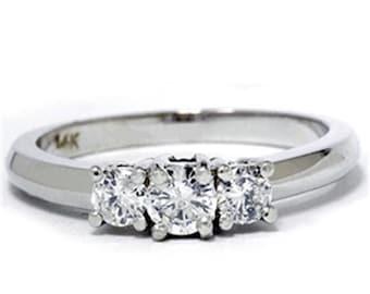 Diamond .50CT Three Stone Ring 14K White Gold