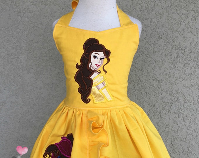 Beauty and The Beast Bailey Dress Birthday Photo Prop Vacation Baby Toddler Girls Dress