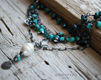 Turquoise Cluster Necklace Layered Short Pearl Gemstones Del Mar Boho Chic Elegant Jewelry Letemendia