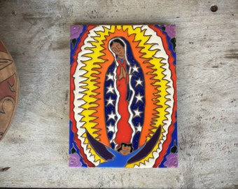 Colorful Mexican Art Virgen de Guadalupe Ceramic Tile Trivet, Our Lady of Guadalupe Art