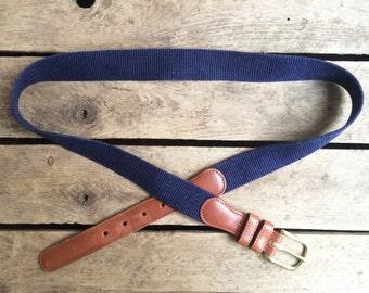 vintage c. 1980s Coach indigo linen & cowhide belt w. solid brass buckle 34