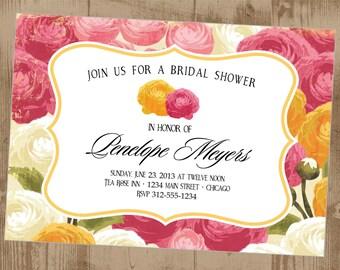 Pretty Roses Shower Printable Invitation