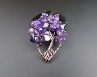 Amethyst and Oxidized Copper Tree of Life Pendant