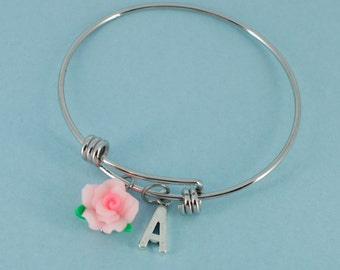 Little Girl's Bangle Bracelet in silver tones.   Little girls jewelry.  Little girls bracelet.  Initial A.