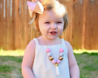 Pink and Gold Bubblegum Necklace, Ball Chain Tassel Necklace, Girl Toddler Trendy Necklace, Pale Pink Necklace, 1st Birthday Necklace