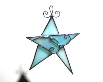 Winter Star - Stained Glass Ornament - Light Blue Christmas Holiday Tree Decoration Handmade Suncatcher Wire (READY TO SHIP)