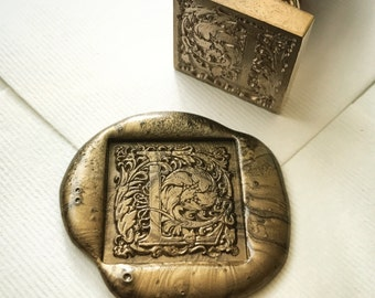 Square initial wax seal stamp A-Z /Heypenman crossover with BlackmarketIntl/