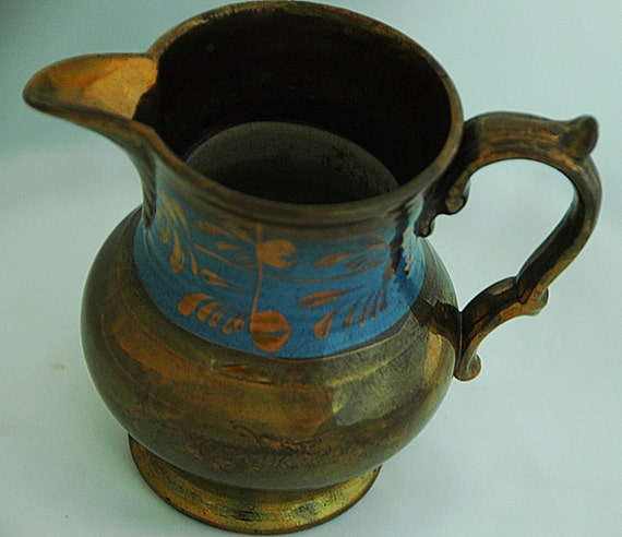 """Reduced Antique C 1800s COPPER LUSTRE WARE English Pitcher 1 1/2"""" Blue Band w/ Copper Flora Motif, 4 5/8""""T Exc Condition, Great Patina"""