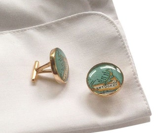 Cufflinks Golden Bronze  Vintage Maps Wedding Gift for Him
