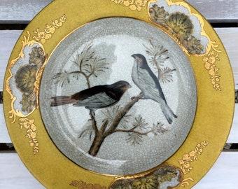 Gold Leaf Vintage Japanese Bird Plate