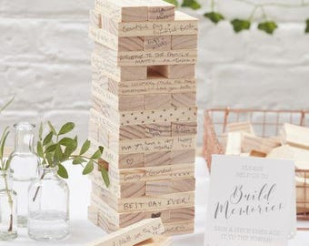 Stackable wood guestbook