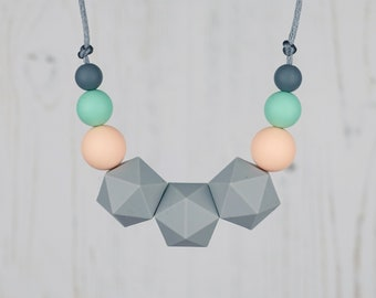 Silicone Teething Necklace for Breastfeeding, Geometric Jewellery for Mum, Nursing Necklace, BPA Free Silicone Beads, Mint, Grey