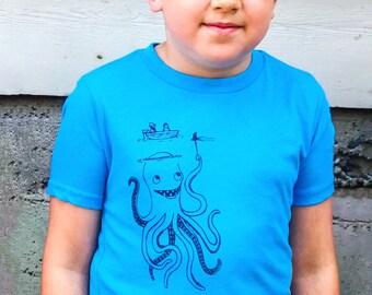 Birthday Shirt, Birthday Gift, Funny Shirt, Kids Graphic Tee, Kids Tops, Octopus Shirt, Octopus Top, Octopus Tee
