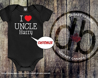 Custom I Love My Uncle Bodysuit, Personalized Uncle T-Shirt, Toddler Uncle T-shirt, Trendy Kid's Clothes, Cute Kid's Shirt, I Love My Uncle