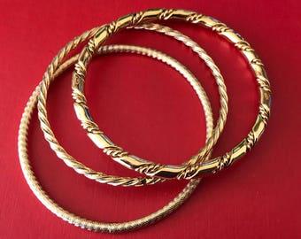 Wrist Music Three Sturdy Bright Layered Gold Bangles