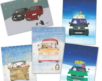 VW T4 and T5  camper van inspired Christmas cards (pack of 10)