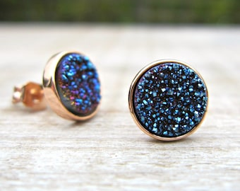 Blue druzy earrings, rose gold druzy studs, bridesmaid gift, bridesmaid jewelry, bridal earrings, something blue, great gatsby, uk seller