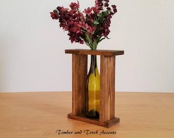 Wine bottle vase, Table decor, Wood bottle vase, Bottle flower vase, Rustic centerpiece, Coffee table decor, Framed bottle vase, Bud vase