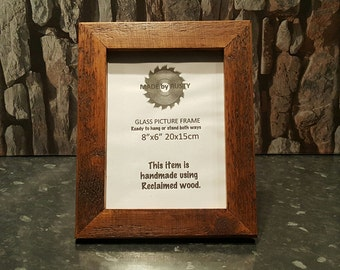"Rustic reclaimed wood 8"" x 6"" photo picture frame oak stained"