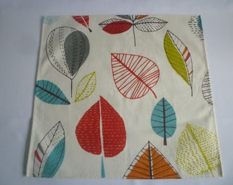 Napkins 4 Orange Blue Red Maple Leaf Funky Retro Fabric washable ANY of MY DESIGNS