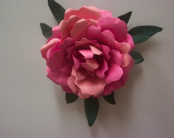 One life size paper Varigated Pink Peony refrigerator magnet