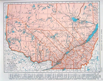 Quebec map ontario map canada map 1947 large 2 sided book 1944 vintage map quebec map ontario map 2 sided world atlas book page gumiabroncs Choice Image