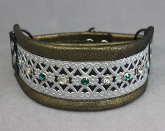 Gold, Silver, and Emerald Green Leather Martingale Dog Collar