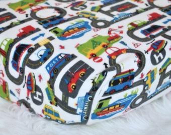 Transportation Crib Sheets, Transportation Changing Pad Cover, Car Crib Sheets, Truck Crib Sheets, Boy Crib Sheets, Flannel Crib Sheets