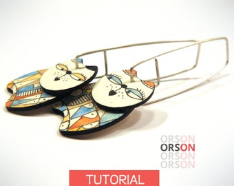 Orson's MEOW & PURRR cats earrings in polymer clay Original tutorial e-book step by step