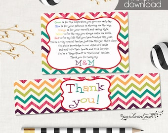 Teacher Thank You Gift Printable Set - Water Bottle Labels - Gift Tag - M&M - Printable Gift Tags - Teacher Appreciation - Instant Download