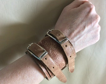 Leather Cuff - Distressed Leather Cuff - Brown Leather Bracelet - Leather Cuff Bracelet - Leather Jewelry - Boho Cuff - apocalyptic