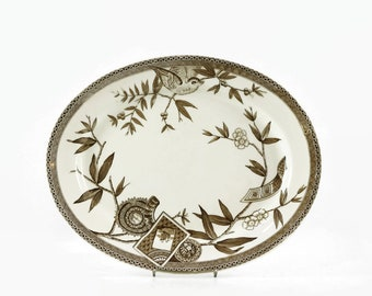 Wedgwood Louise Large Oval Serving Platter, Brown and White Transferware Tray, Wedgwood China Dinnerware, Victorian Aesthetic Transferware