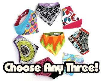 Bandana Bib Bundle – Any Three Upcycled/ Vintage Fabric Bandana Bibs Special Offer